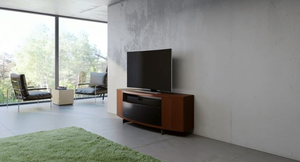 A Stylish Sweep Media Console Presented with UFO 3D Furniture Product Animation Services