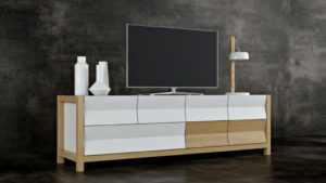 3D Model of a Stylish TV Stand: Geometrical Design View03
