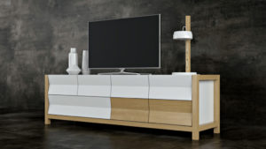 3D Model of a Stylish TV Stand: Geometrical Design View04