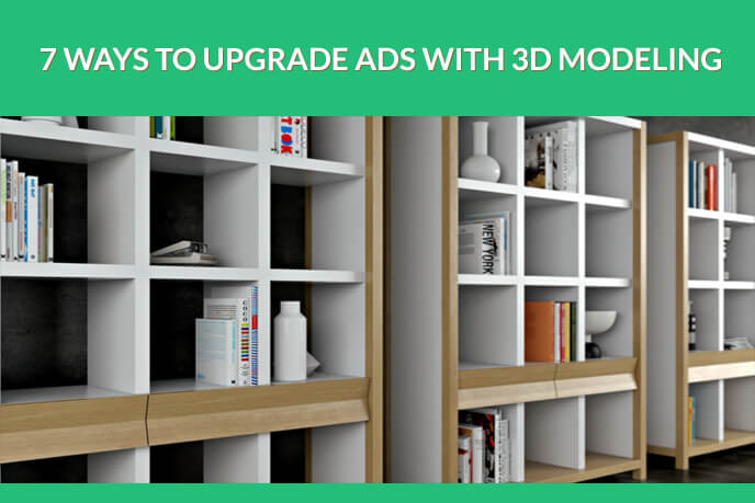 Wooden Bookshelf 3D Modeling For Advertising