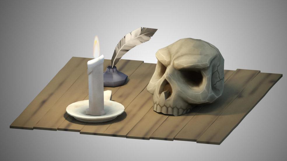 Scull Scene 3D Modeling