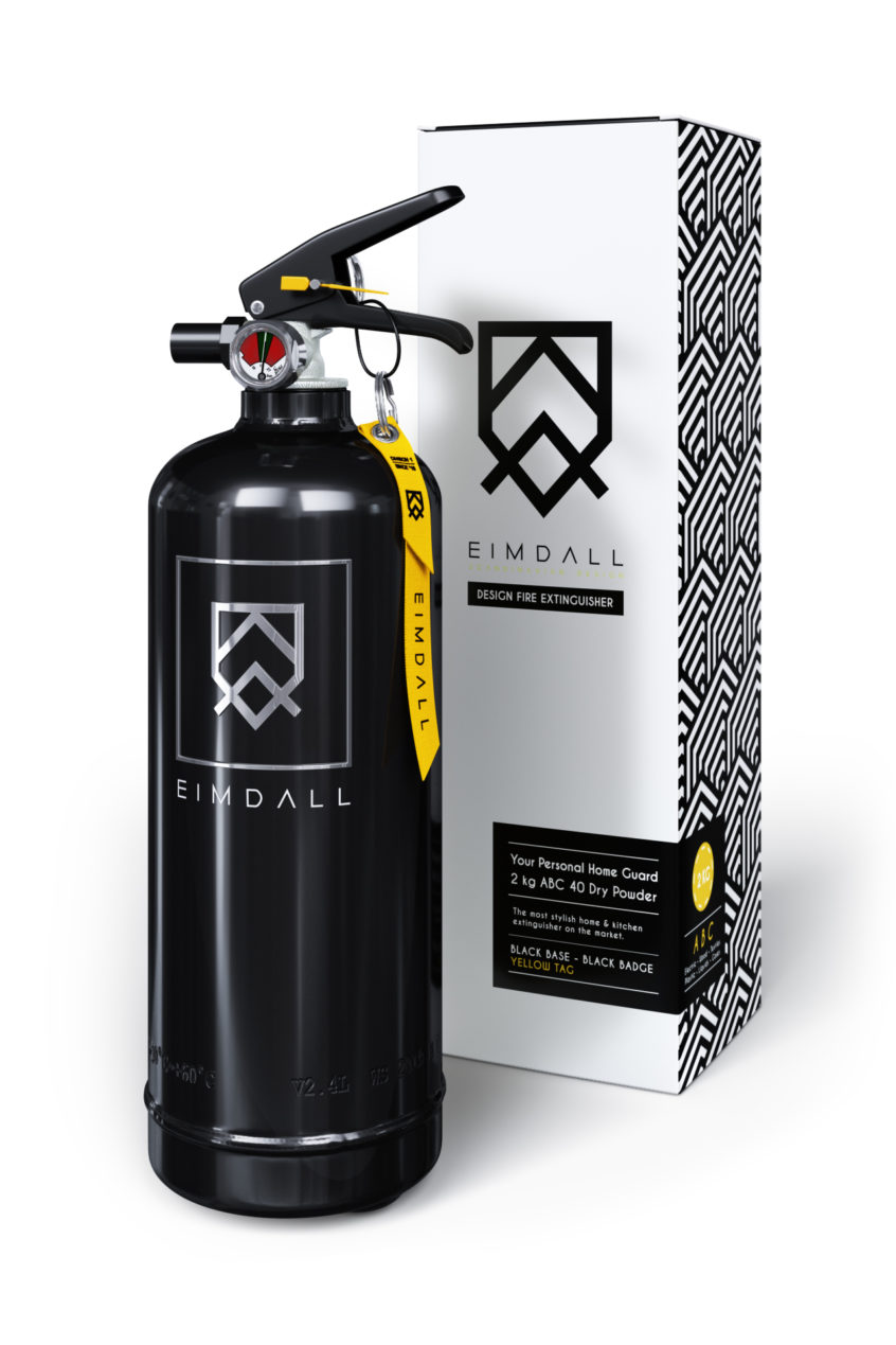 Black Fire Extinguisher 3D Model and a Box for Product Design