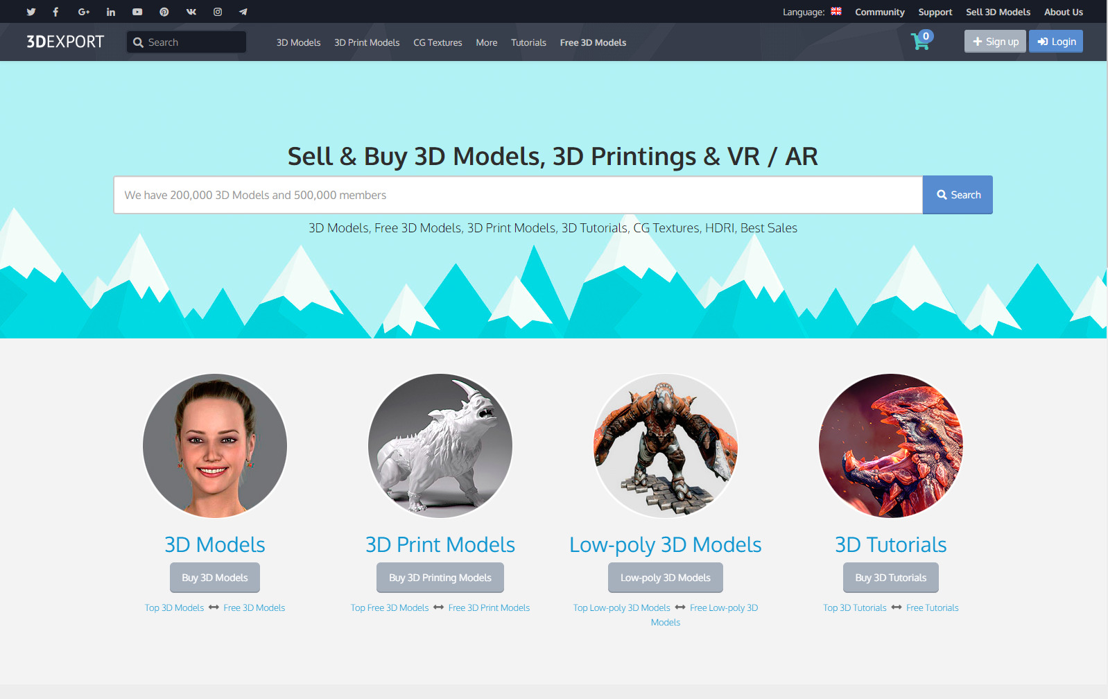 3DExport 3D Model Selling Website