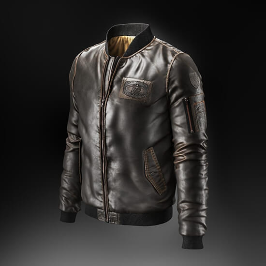 3D Product Model Of A Leather Jacket