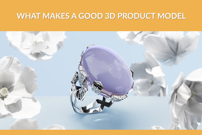 3D Product Model Of A Silver Jeweled Ring
