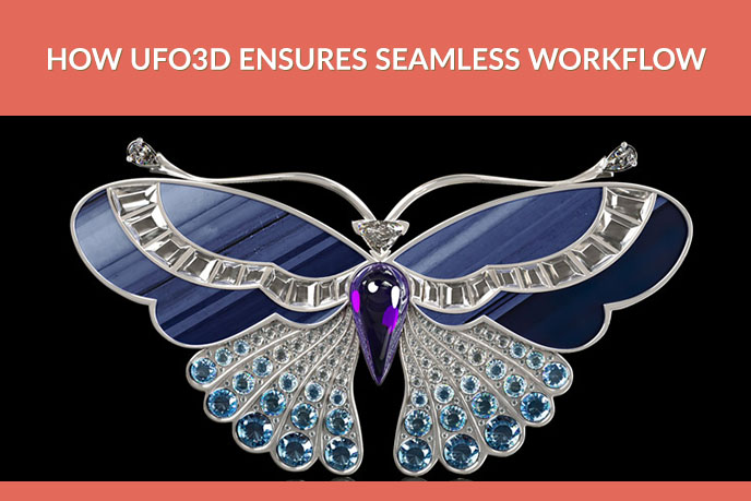 3D Model Of A Buttrfly-Shaped Brooch Encrusted With Gems
