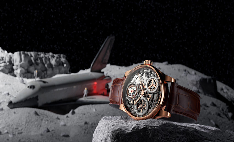 3D Product Lifestyle Of A Watch On The Moon