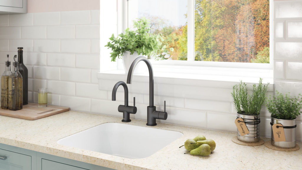 Realistic 3D Model of a Black Kitchen Tap