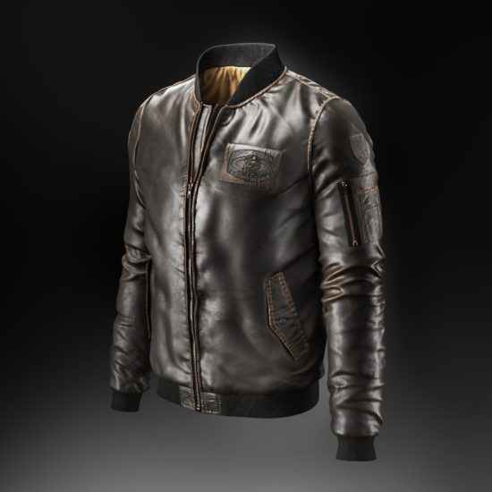 3D Visualization of a Black Leather Jacket