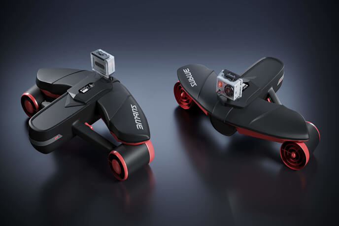 3D Photoreal Visualization Of Two Action Cameras With Black Background