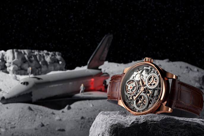 3D Photoreal Visualization Of A Golden Mechanical Watch In Space Environment