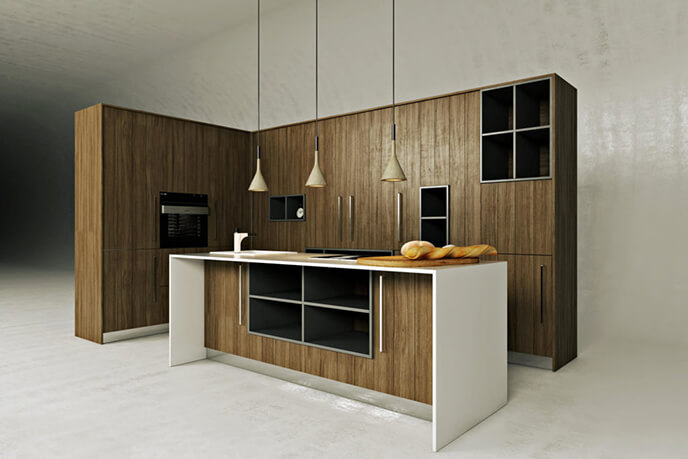 White Background 3D Visualization Of Kitchen