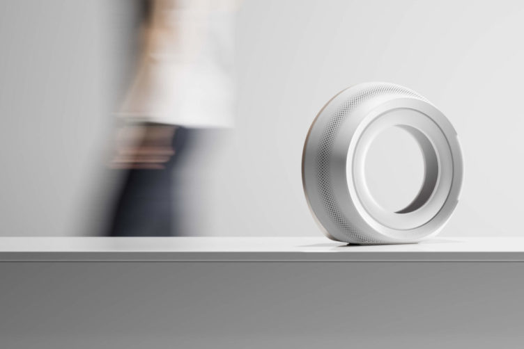 3D Product Visuals of a White Portable Speaker