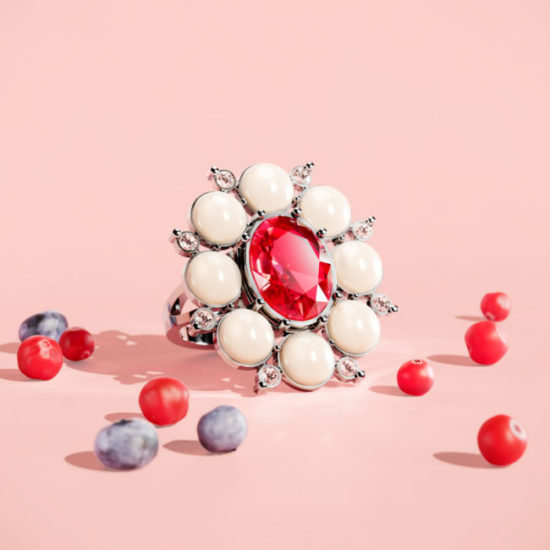 3D Visualization of a Beautiful Ring with Red and White Gems