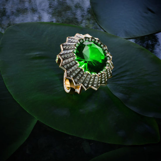 3D Visualization of an Elegant Ring on a Green Leaf