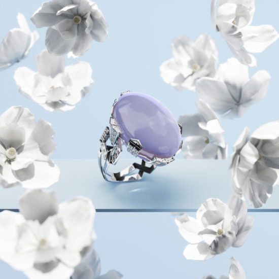 3D Visualization of a Gorgeous Ring with White Flowers