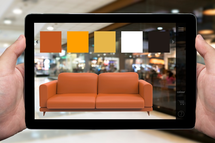 Person Using AR App to Customize a Couch