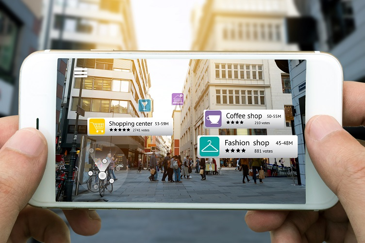 Shopper Using AR App to Find a Venue