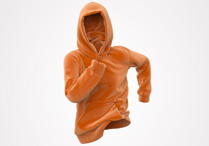 Product CGI of an Orange Hoodie