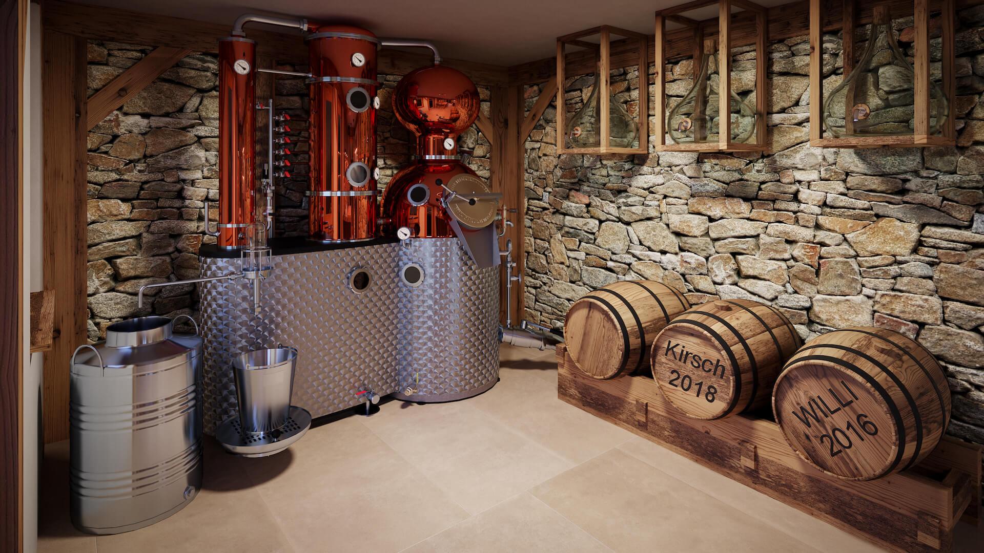 Photorealistic Interior 3D Rendering of the Distillery's Tasting Room