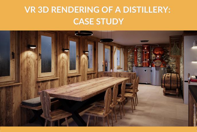 3D Render of a Spirit Tasting Room at a Distillery